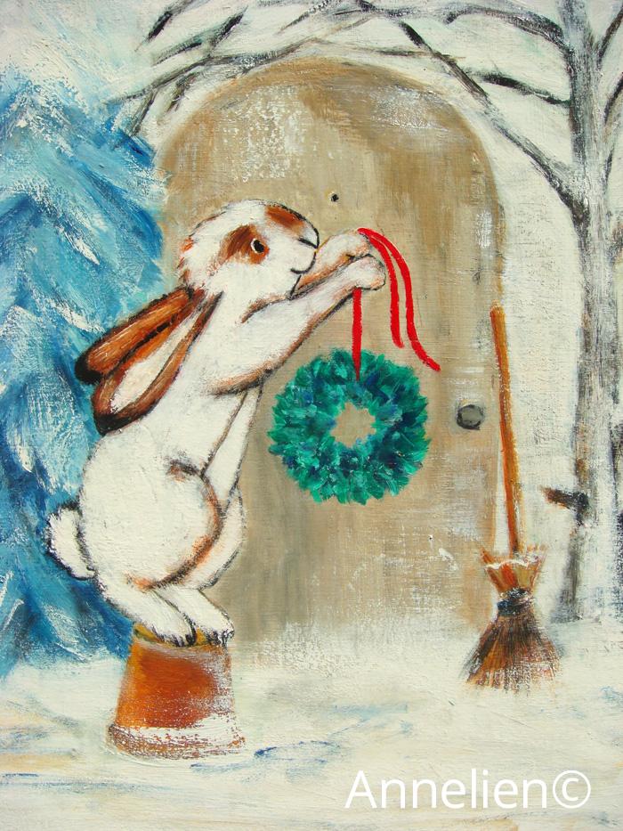 Sneeuwhaas-kerstkrans